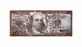 Old printing plate for 100 dollar, isolated on white background. ( there is clipping path Stock Photography