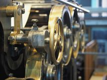 Old printing press. Ð¡lose up view royalty free stock photo