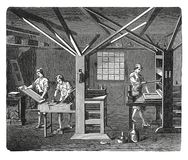 Old printing workshop antique engraving. 19-th century illustration of an old printing workshop . Published in Novoveki Izumi u znanosti, obrtu i umjetnosti by Royalty Free Stock Image