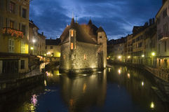 Old prison of Annecy at night. The old town of Annecy is also named The small venice because of the water course which passes through the town Stock Image