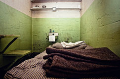 Old Prison Cell. A eroded Alcatraz prison cell Stock Photo