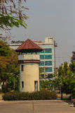 Old prison guard tower that constructed with brick, wood and red Stock Photos