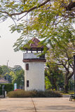 Old prison guard tower that constructed with brick, wood and red. Roof tiles. A watchtower on the corner of a prison wall that named Bangkok Special Prison. Now royalty free stock images