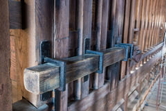Old prison locked wooden key, gate lock Royalty Free Stock Photos