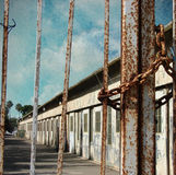Old prison with rusted bars. Vintage photo of old prison with rusted bars royalty free stock image