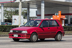 Old Private car, Toyota Starlet. CHIANG MAI, THAILAND -JANUARY 19 2017:  Old Private car, Toyota Starlet. On road no.1001, 8 km from Chiangmai city Stock Photo