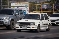 Old Private car, Toyota Starlet. Chiangmai, Thailand - February 25 2019: Old Private car, Toyota Starlet. On road no.1001, 8 km from Chiangmai city asia asian stock images