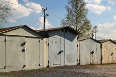 Old private garages in a row Royalty Free Stock Photo