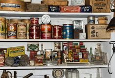 Old products in museum in Chloride New Mexico. A shelf with various old products in a museum in the ghost town of Chloride, New Mexico, USA Stock Photo