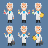 Old Professor Holds Board Test Tubes Royalty Free Stock Photos
