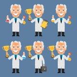 Old Professor Holds Cup Medal Test Tubes Stock Image