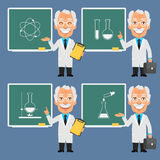 Old Professor Holds Points to Chalkboard Stock Photography