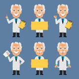 Old Professor Holds Poster Board and Shows Royalty Free Stock Photos