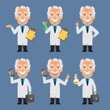 Old Professor Holds Suitcase Frog Test Tubes Stock Image