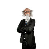 Old professor isolated on white background Royalty Free Stock Photos