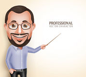 Old Professor Teacher Man Vector Character Speaking Pointing Blank Space Royalty Free Stock Photo