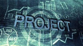 Old Project Drawing. Blueprint targeting development project as business concept Stock Image