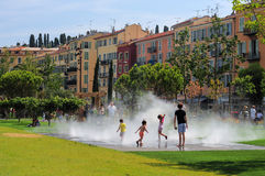 Old promenade in Nice with fountains Royalty Free Stock Photography