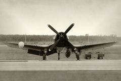 Old propeller airplane. World War II era navy airplane front view Stock Images