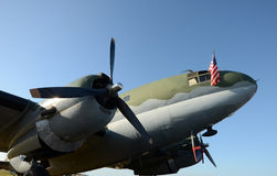 Old propeller airplane nose view royalty free stock images