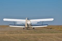 Old propeller biplane Stock Images