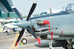 Old propeller jet at Singapore Airshow 2014 Royalty Free Stock Photos