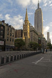 The old Protestant church in the background Empire State Building Stock Image