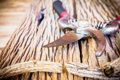 Old pruning shears on the wooden table Royalty Free Stock Photos