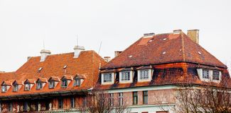 Old prussian house with red tiles roof. stock image
