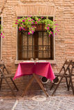 Old pub in a tiny alley. In the city center of Ferrara Italy Stock Image