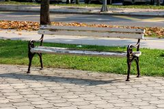 Old public bench made of wood with cracked paint and wrought iron supports mounted on stone tiles next to uncut grass covered with. Fallen leaves on warm sunny royalty free stock image