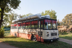 Old public bus with outside reservoirs Stock Images