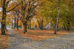 Old public park in autumn royalty free stock photography
