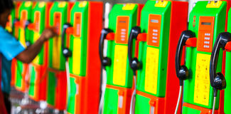 Old public pay phones royalty free stock photo
