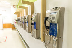 old Public telephone booth in shopping mall Stock Photo
