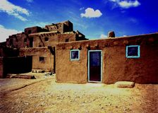 Old Pueblo Building at Taos New Mexico Stock Image