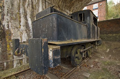 Old puffer train. An old English puffer train in a museum stock photo