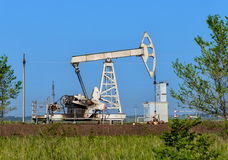 Old pumpjack. Old oil pumpjack on the summer field Stock Photography