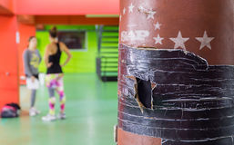 Old punching bag. On a gym Royalty Free Stock Image