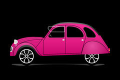 Old purple car. Silhouete vector over black background Stock Photos