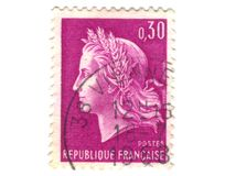 Old purple french stamp Royalty Free Stock Image