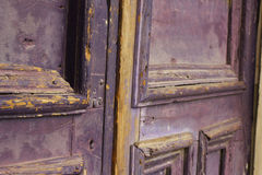 Old purple wood door Royalty Free Stock Photos