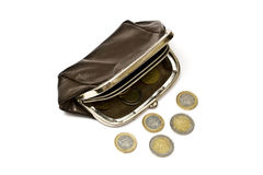 Old Purse And Euro Coins Royalty Free Stock Photography