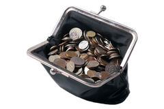 The old  purse with coins Stock Photos