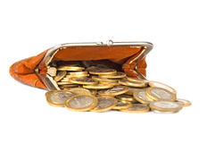 Old purse and coins Stock Images
