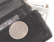 Old purse with dollars Royalty Free Stock Photography
