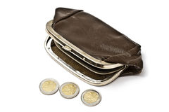 Old purse and euro coins Stock Image