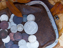 Old purse. Old leather purse with silver coins of tsars of House of Romanovs of 19-20 centuries Stock Photo