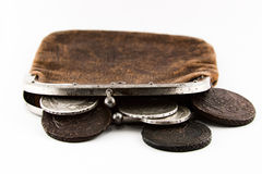 Old purse lies. Old leather purse with silver coins of tsars of House of Romanovs of 18-19 centuries Stock Image