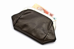 Old purse and money Stock Image